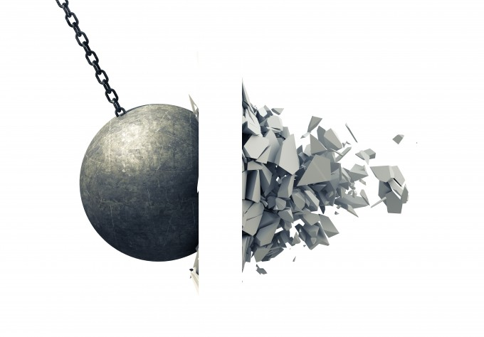 Metallic Wrecking Ball Shattering Wall. 3D Illustration.