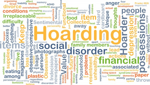 Background concept wordcloud illustration of hoarding
